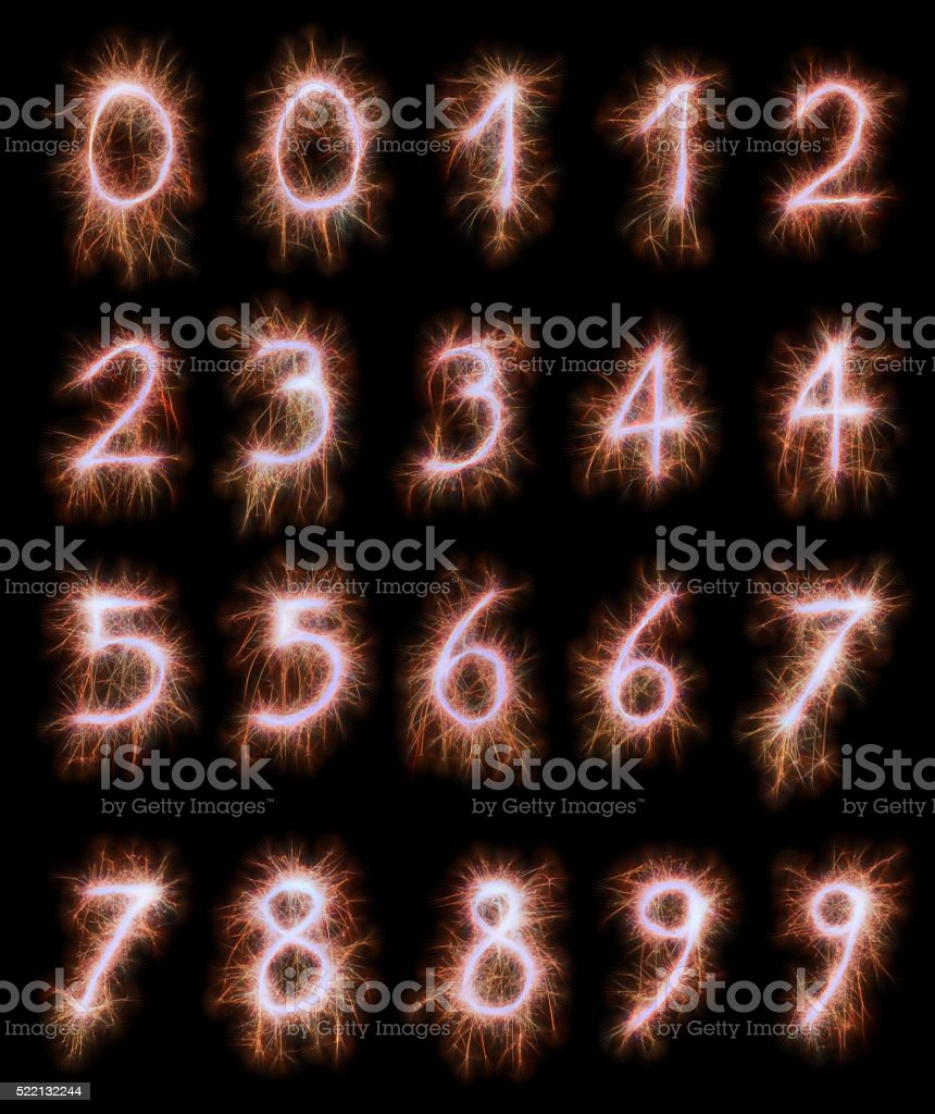 Red sparkling numbers 1-10 stock photo
