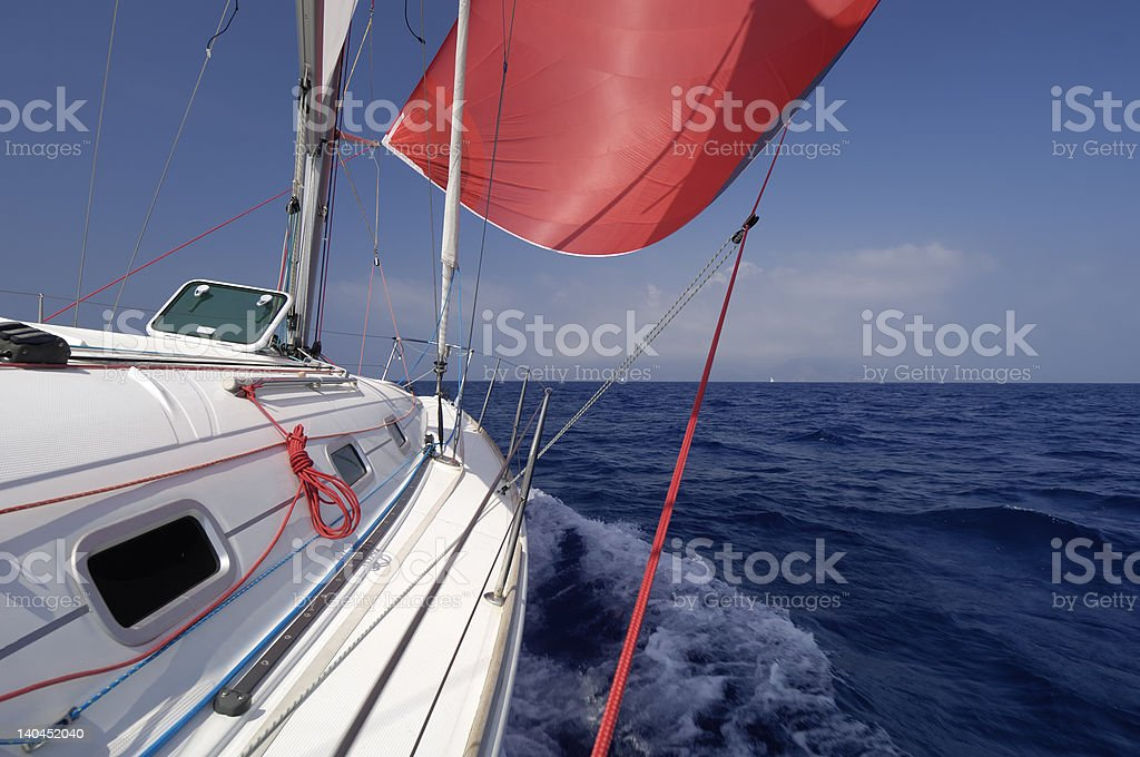 red spinnaker stock photo