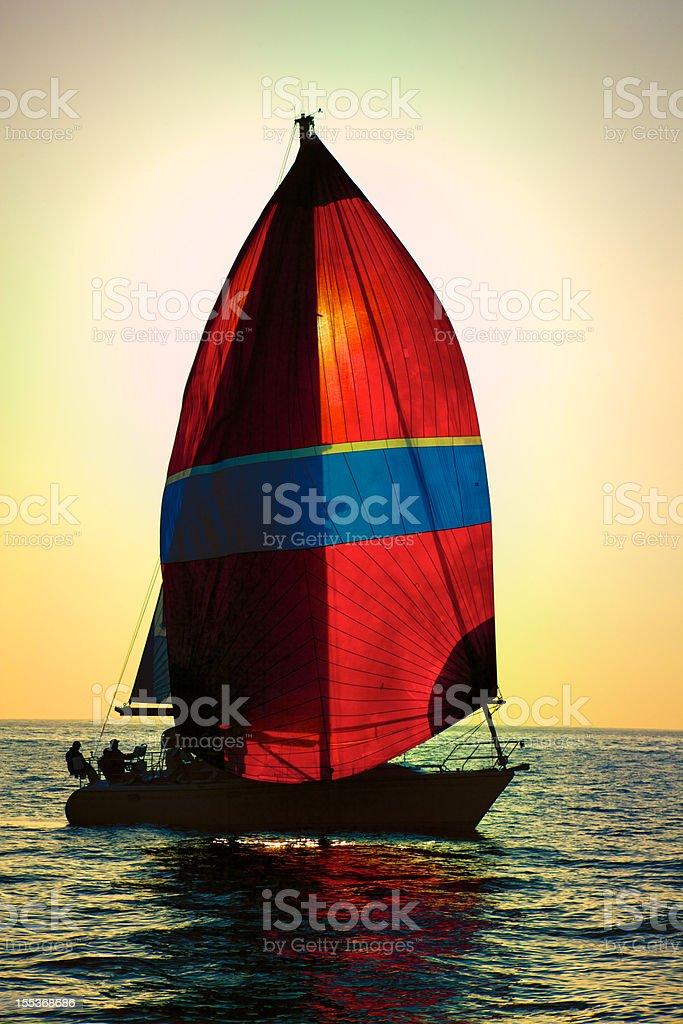 Red Spinnaker Sail Sailboat on California Coast Marina Del Rey royalty-free stock photo