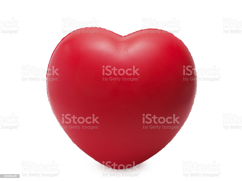 red sponge with heart shape isolated on white royalty-free stock photo