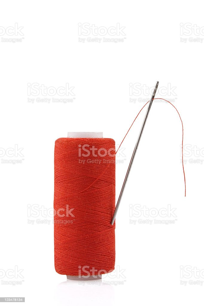 red spool with needle royalty-free stock photo
