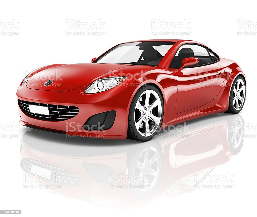 3D Red Sport Car on White Background stock photo