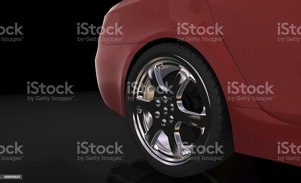 Red sport car , rear wheel royalty-free stock photo