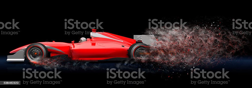Red sport car with trail of dust stock photo