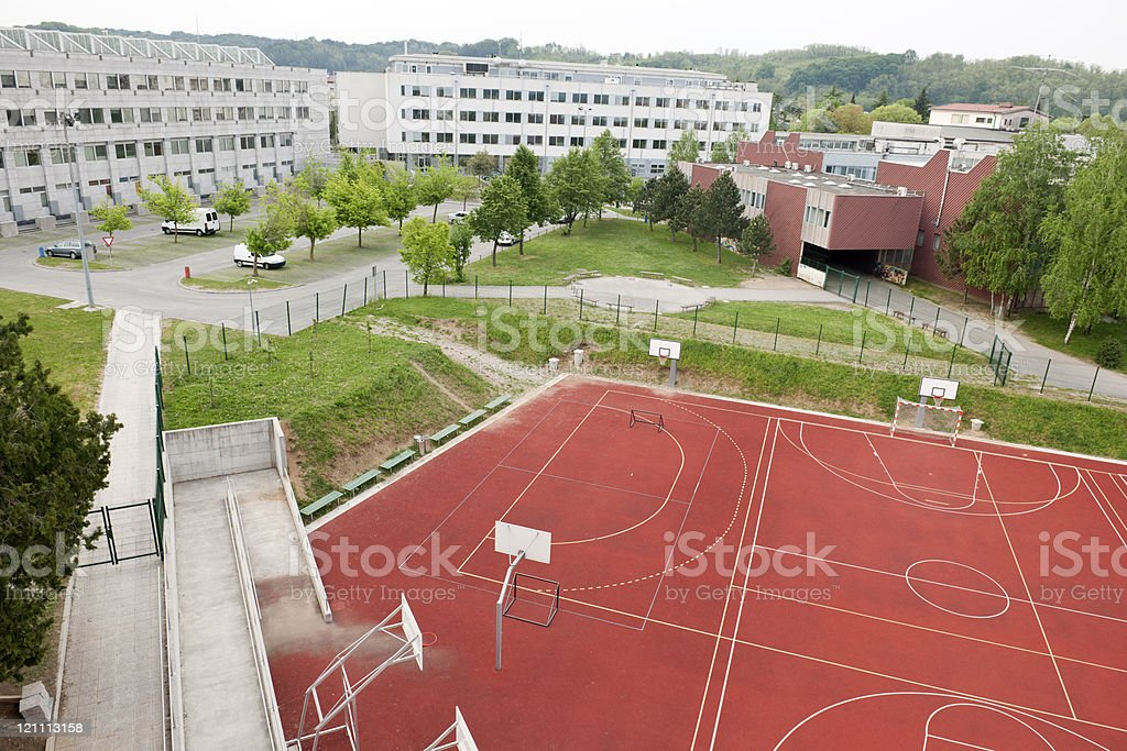 Red Sport Field in City royalty-free stock photo