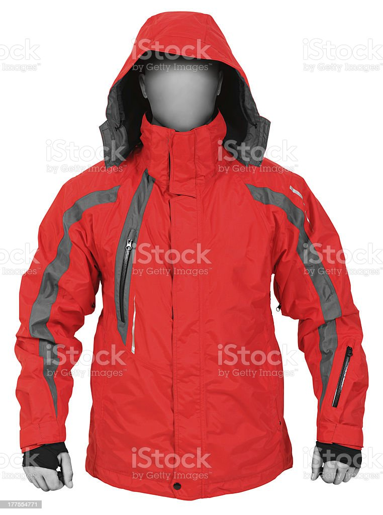 Red sport jacket with hood royalty-free stock photo