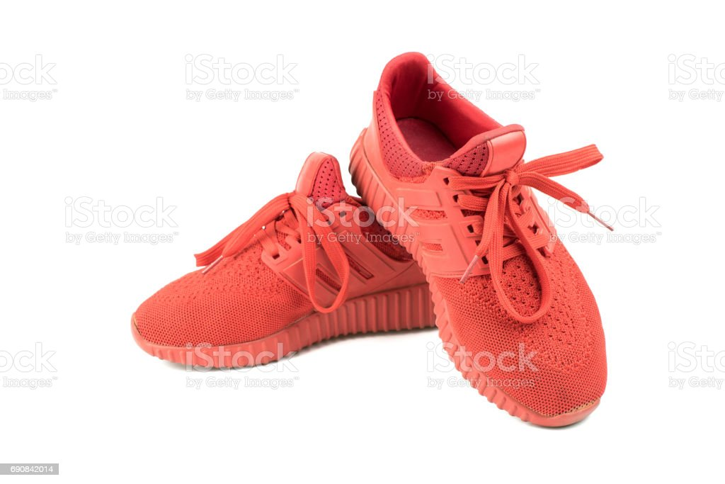 red sport shoes on white background stock photo