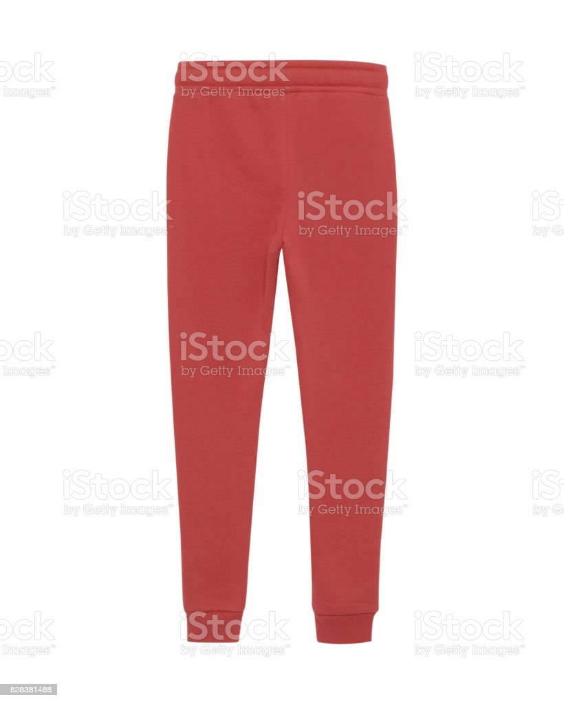 Red sport sweatpants isolated white stock photo