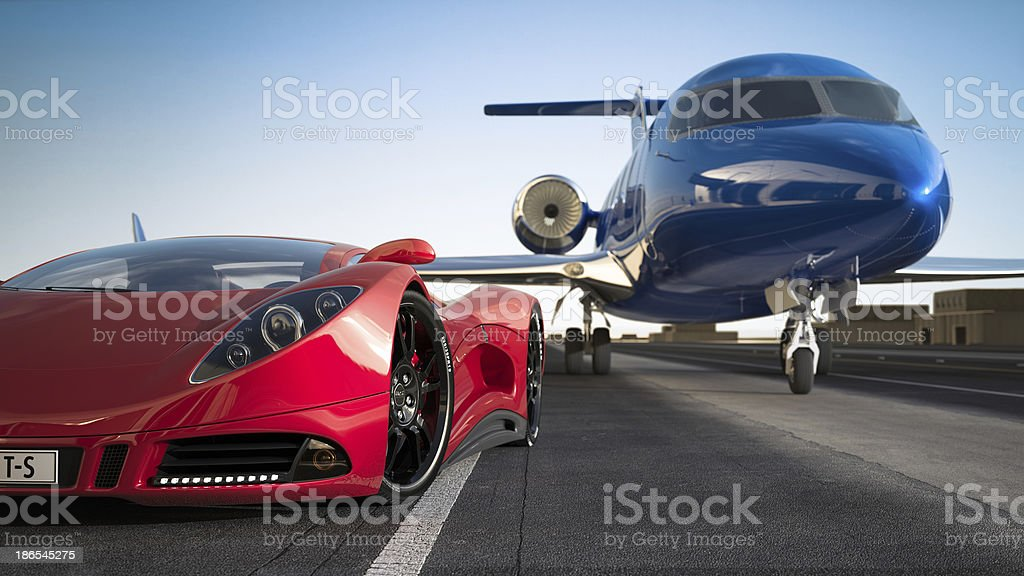 Red sports car and blue luxury jet on runway stock photo