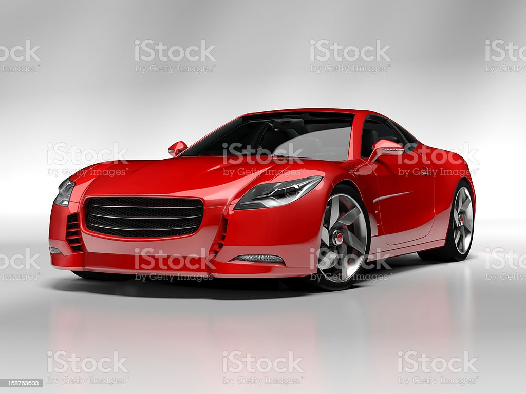 Red sports car with black Windows stock photo