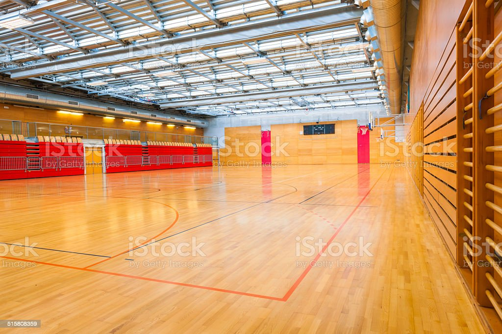 Red Sports Hall with Metal Roof stock photo