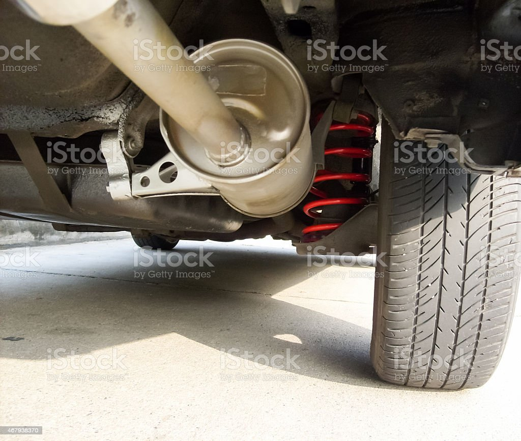 Red spring suspension,vehicle Part stock photo