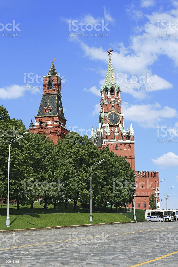 Red Square and clock tower at noon royalty-free stock photo