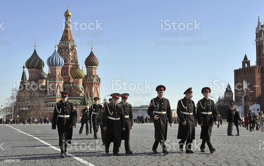 Red Square cadets stock photo