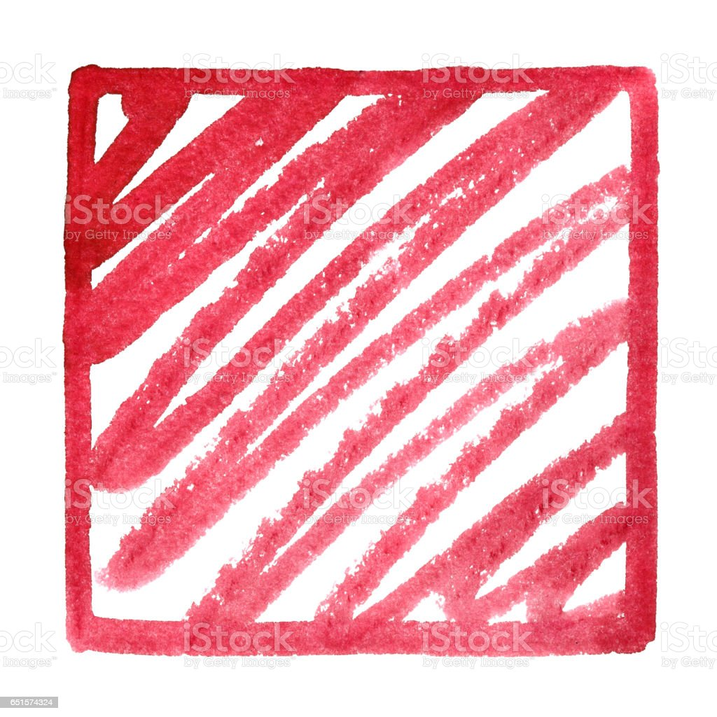 Red square frame with doodle stock photo