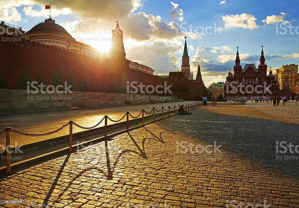 Red Square. Moscow Kremlim and Historical Museum. stock photo