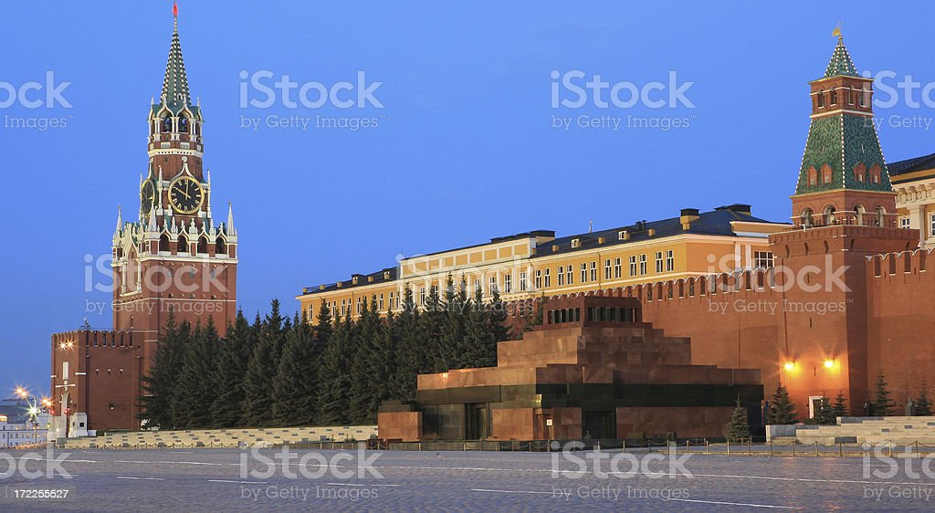 Red Square Moscow with Lenins tomb and Saviour Gate Tower stock photo