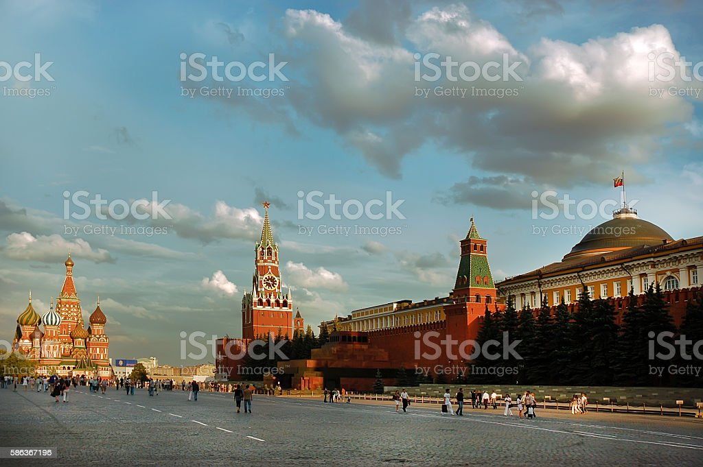 Red Square of Moscow in the summer day. stock photo