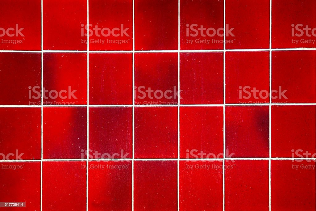 Red Square Tile Background, Shower or Floor, Closeup stock photo