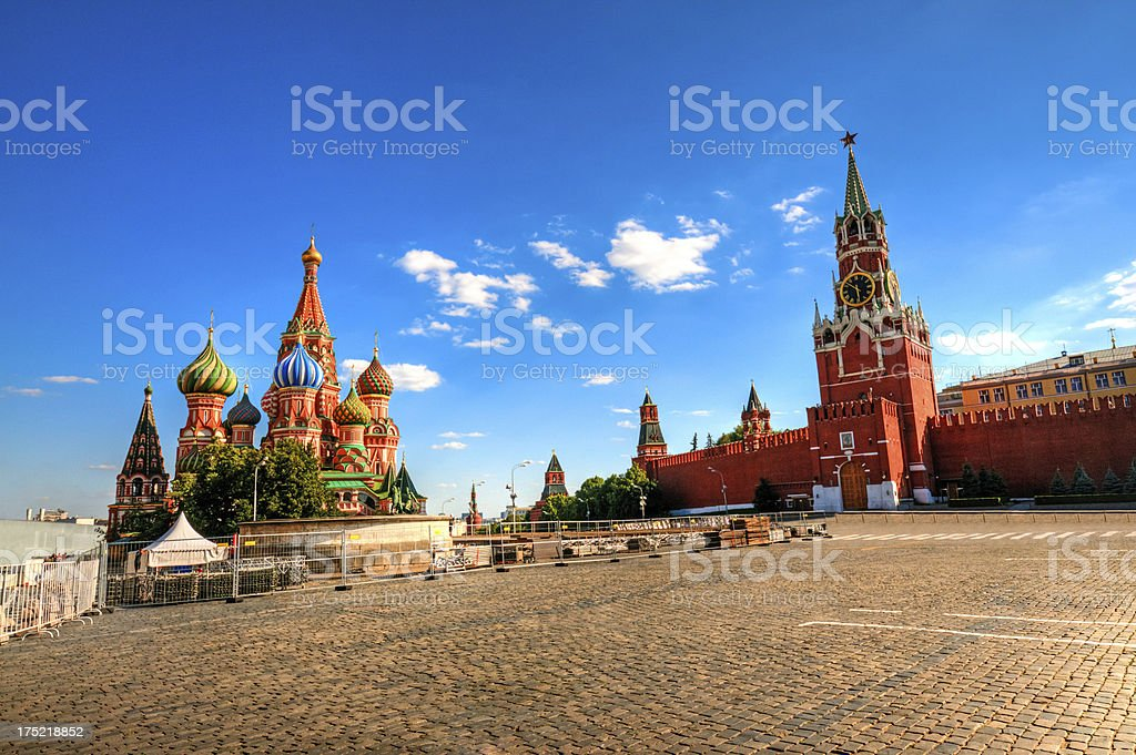 Red Square with Kremlin and St Basil's Cathedral in sun stock photo