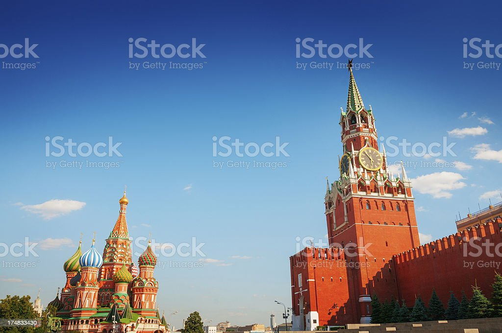 Red Square with Kremlin and St. Basils Cathedral royalty-free stock photo