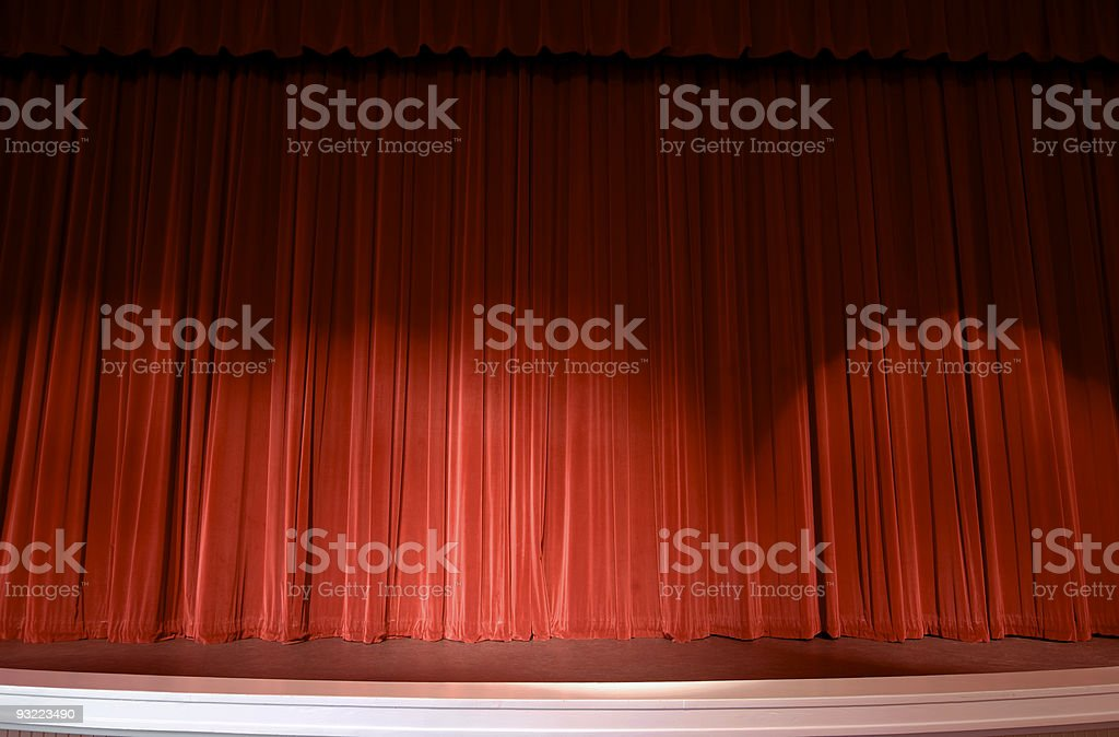 Red Stage Curtain background and Spotlights stock photo