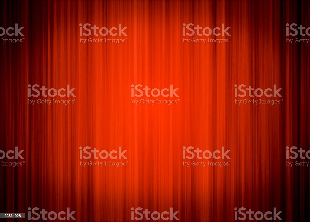 Red Stage Curtain Background with Black Vignette Around stock photo