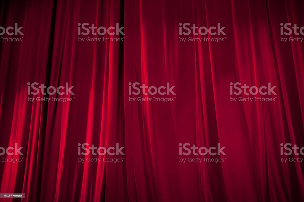 Red Stage Curtain stock photo