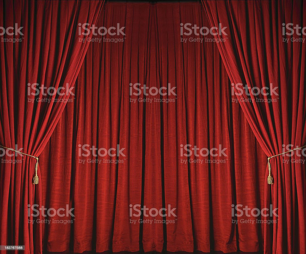 Red Stage Curtains from Theatre stock photo
