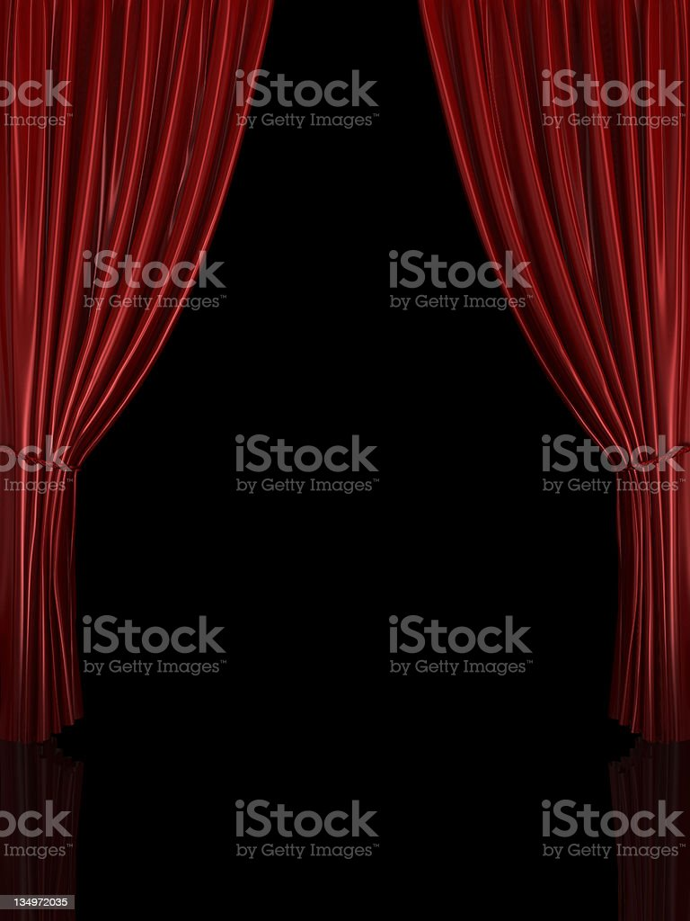 Red stage curtains with a black background royalty-free stock photo