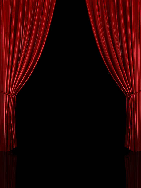 Red Stage Curtains With A Black Background Stock Photo