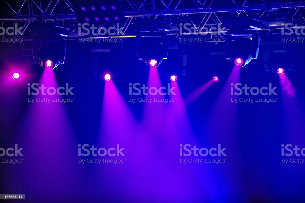 Red stage spotlights stock photo