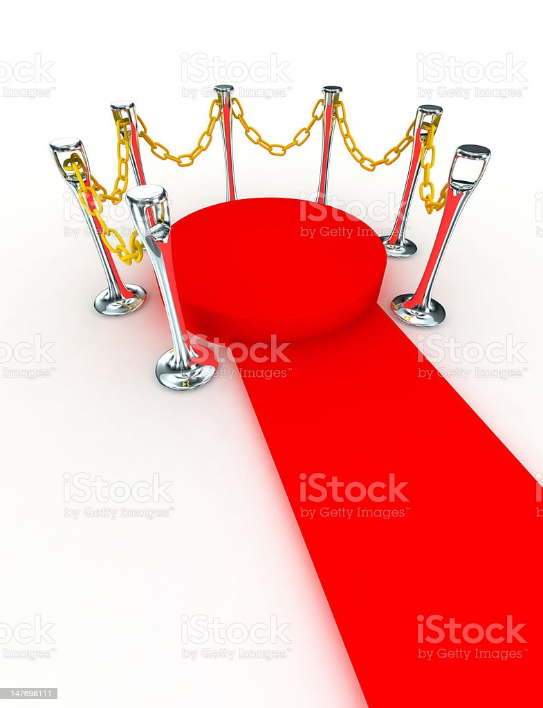 Red stage surrounded by chain stock photo