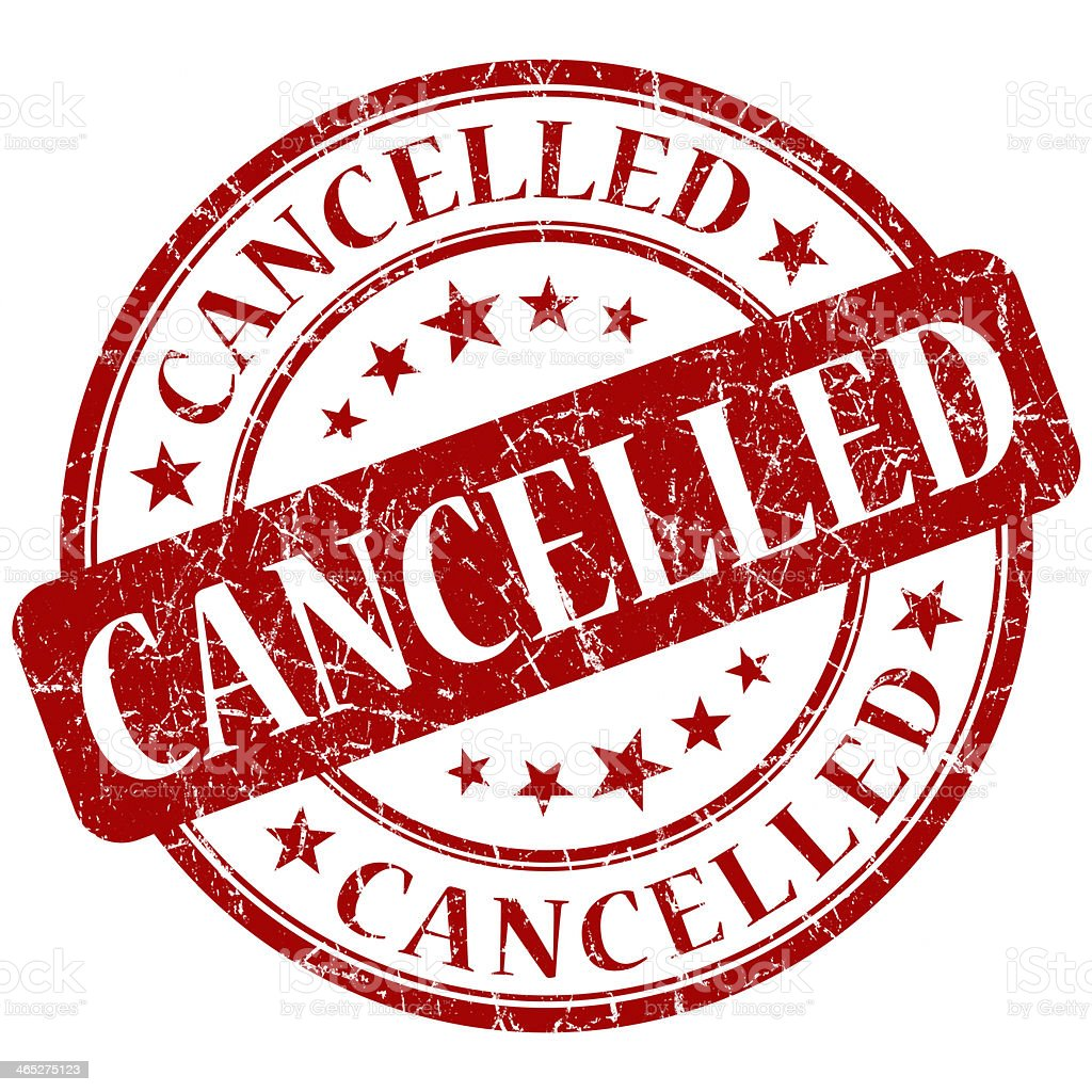 CANCELLED red stamp stock photo