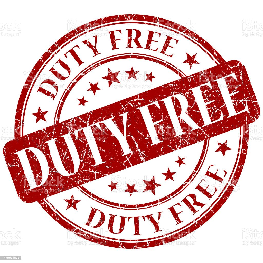 DUTY FREE red stamp stock photo