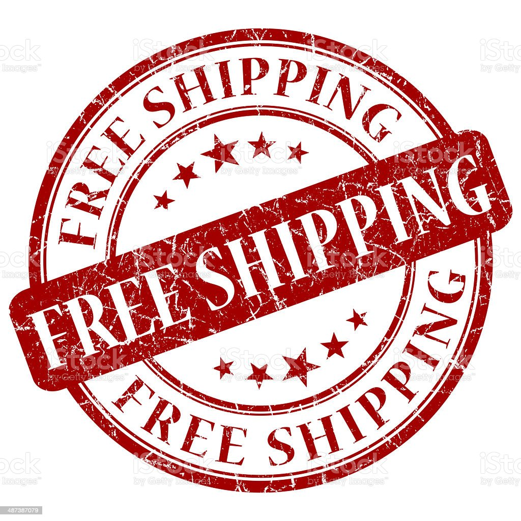 FREE SHIPPING red stamp stock photo