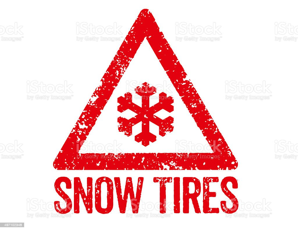 Red Stamp - Snow Tires vector art illustration
