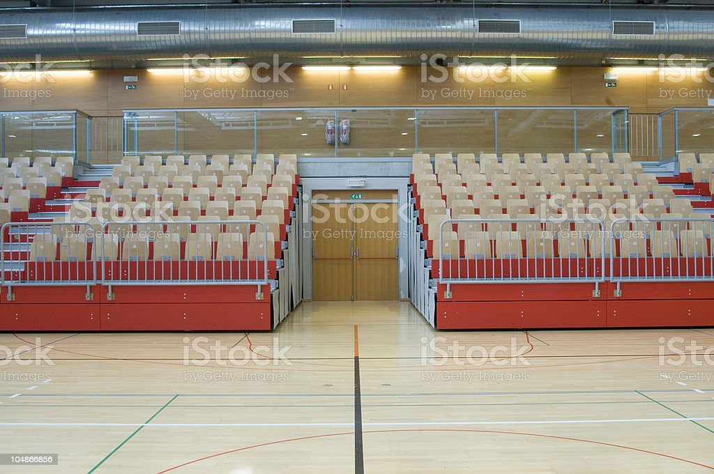 Red Stand and Door in Sports Hall royalty-free stock photo