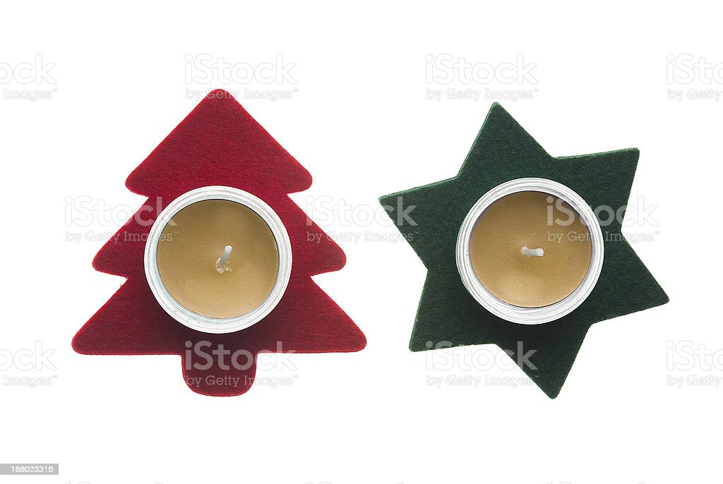 Red star and green pine tree  Christmas decorations with candles royalty-free stock photo