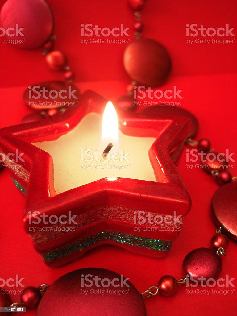Estrela Vermelha Vela na celebração de fundo foto de stock royalty-free