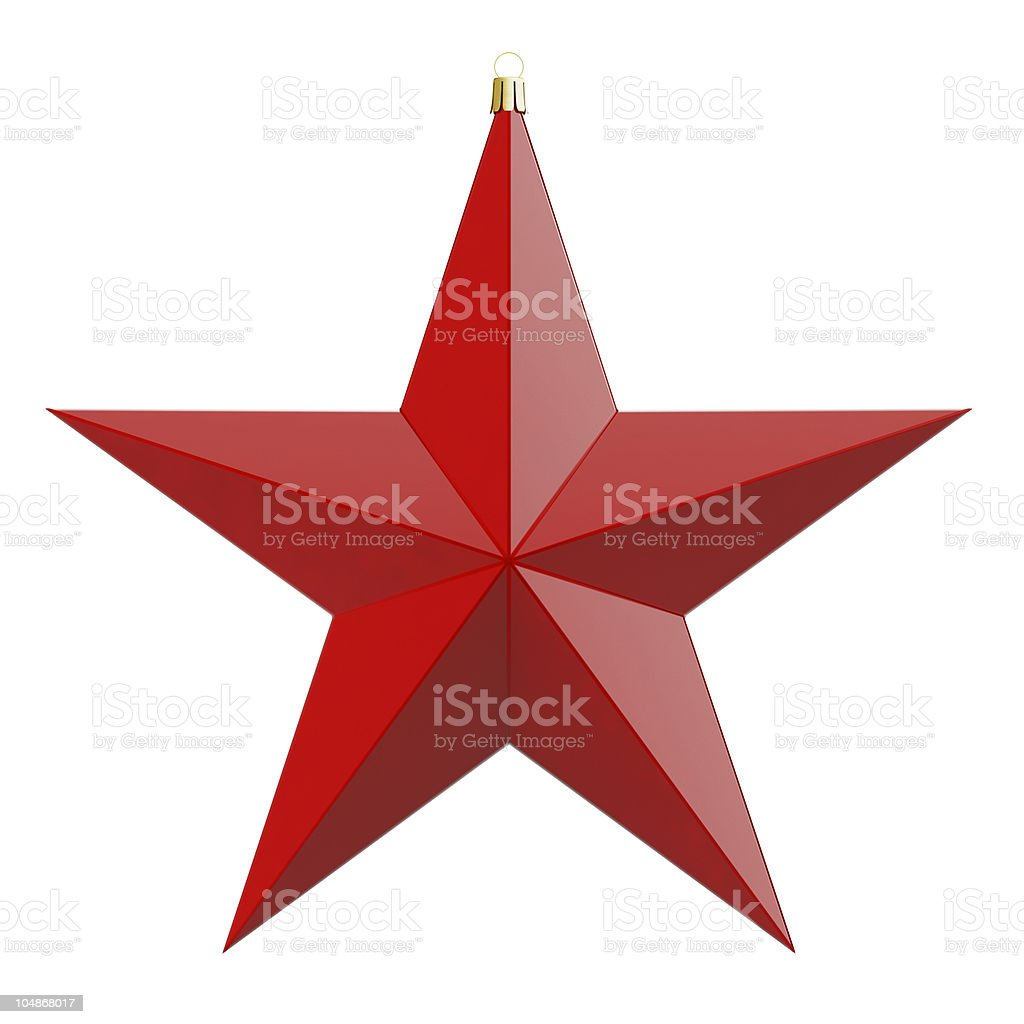 Red star Christmas ornament on a white background royalty-free stock photo