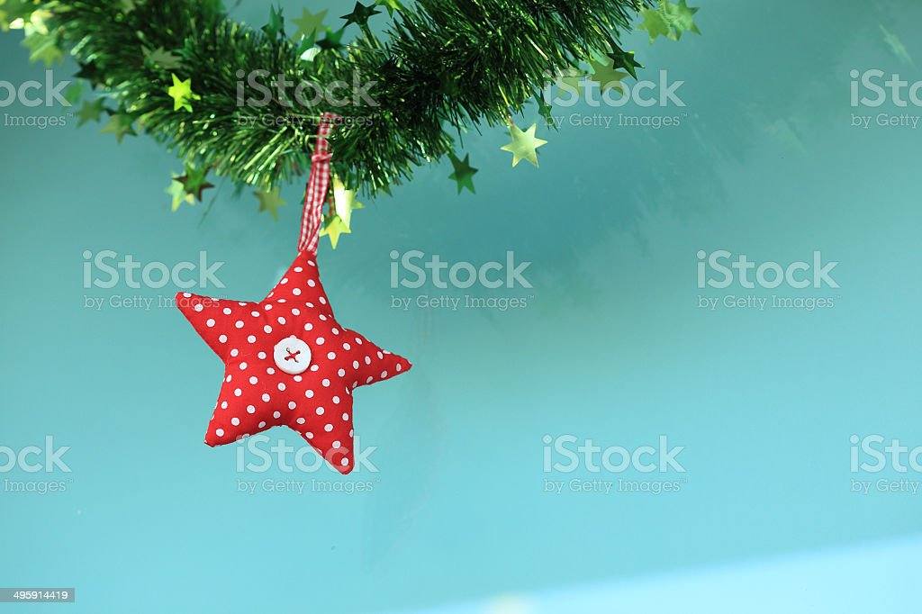Red star fabric hanging royalty-free stock photo