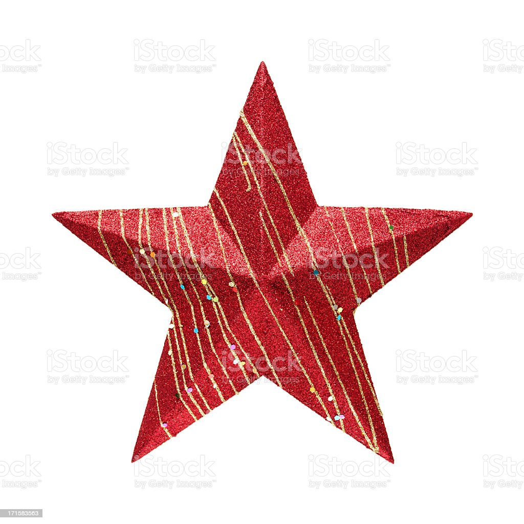 Red Star (Clipping path!) isolated on white background stock photo