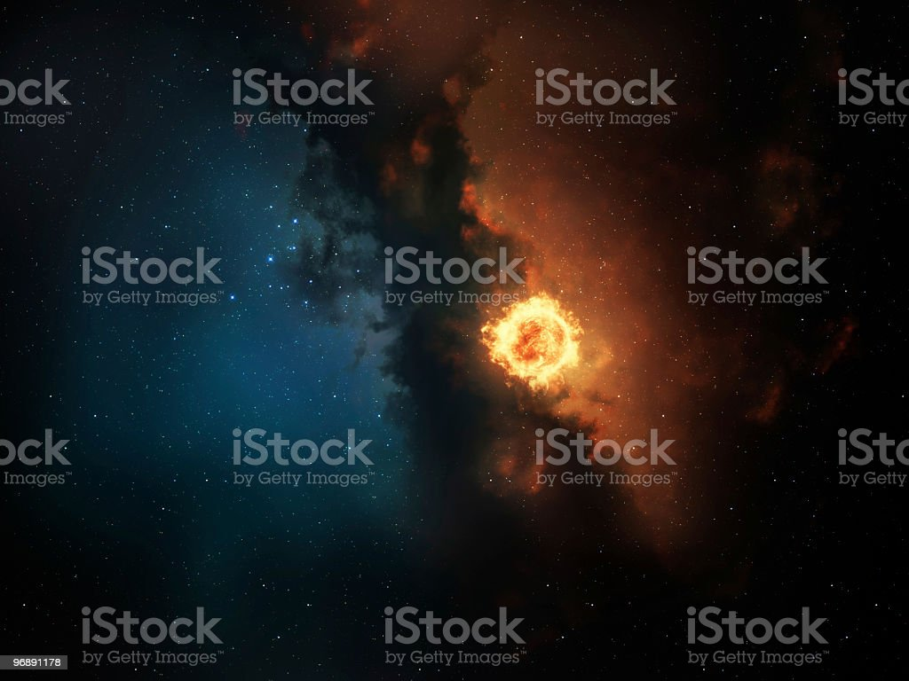 Red Star Space Nebula royalty-free stock photo