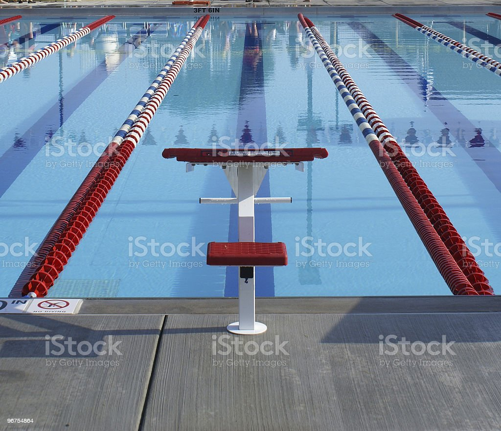 Red starting block in swim lane stock photo