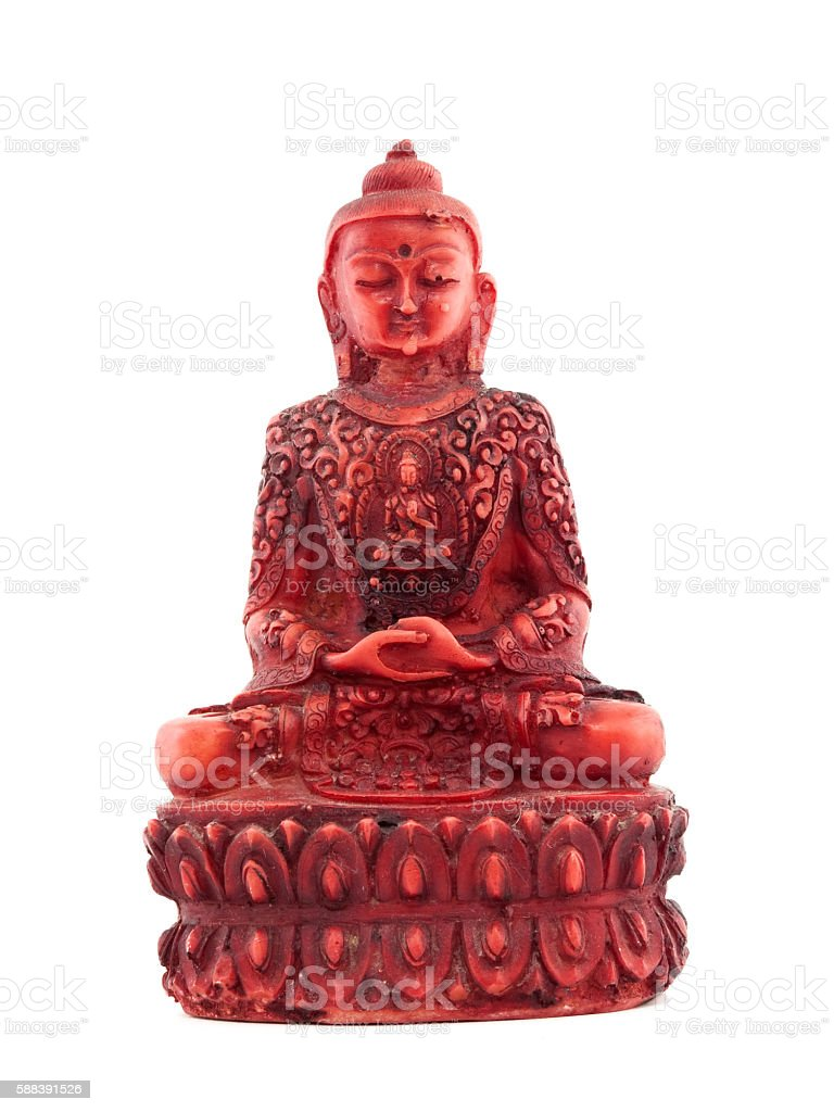 Red statue of budha front stock photo
