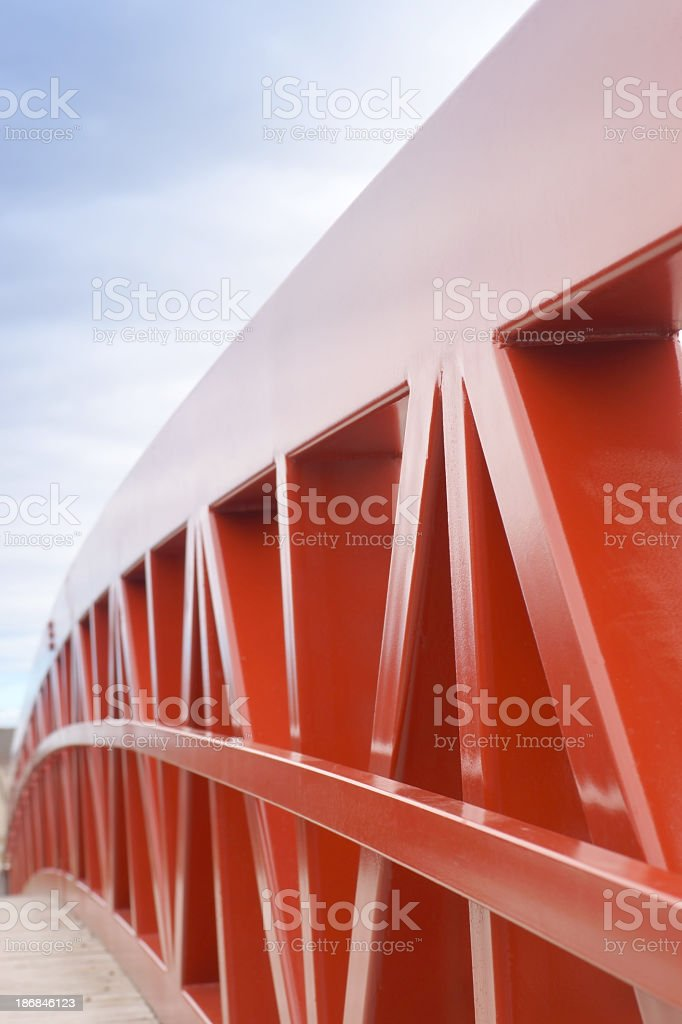 Red steel bridge. royalty-free stock photo