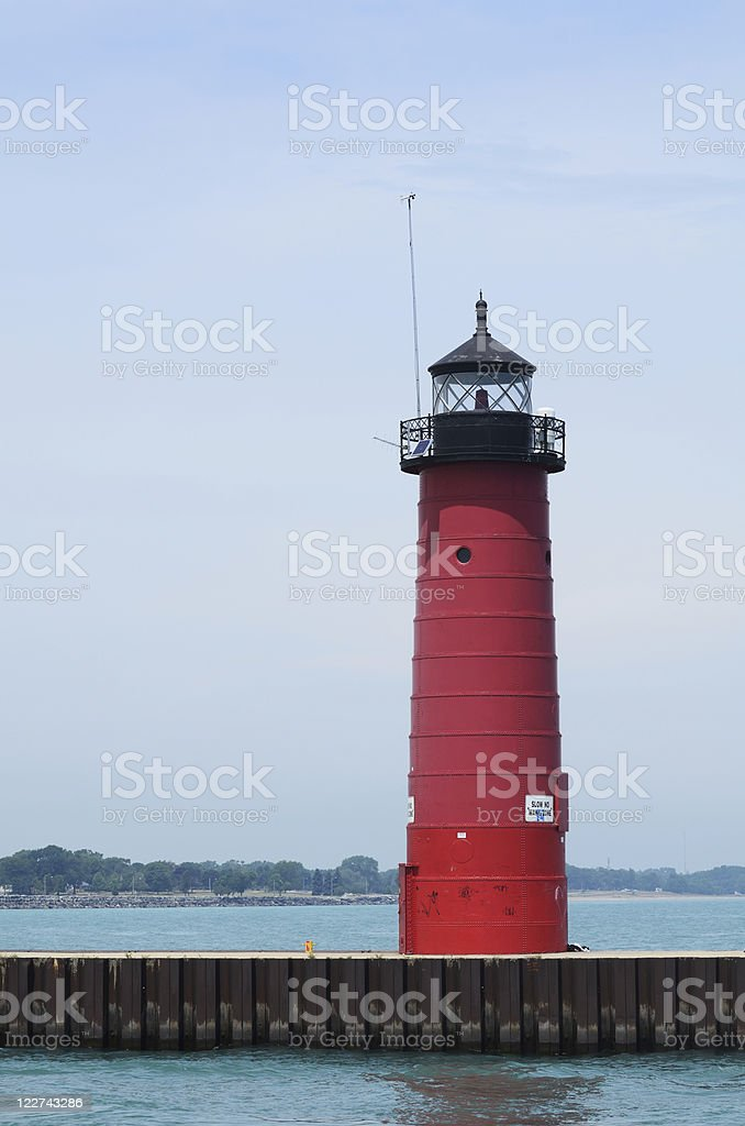 Red Steel Lighthouse stock photo