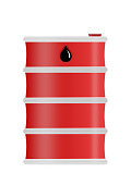 Red steel oil drum heavy duty isolated