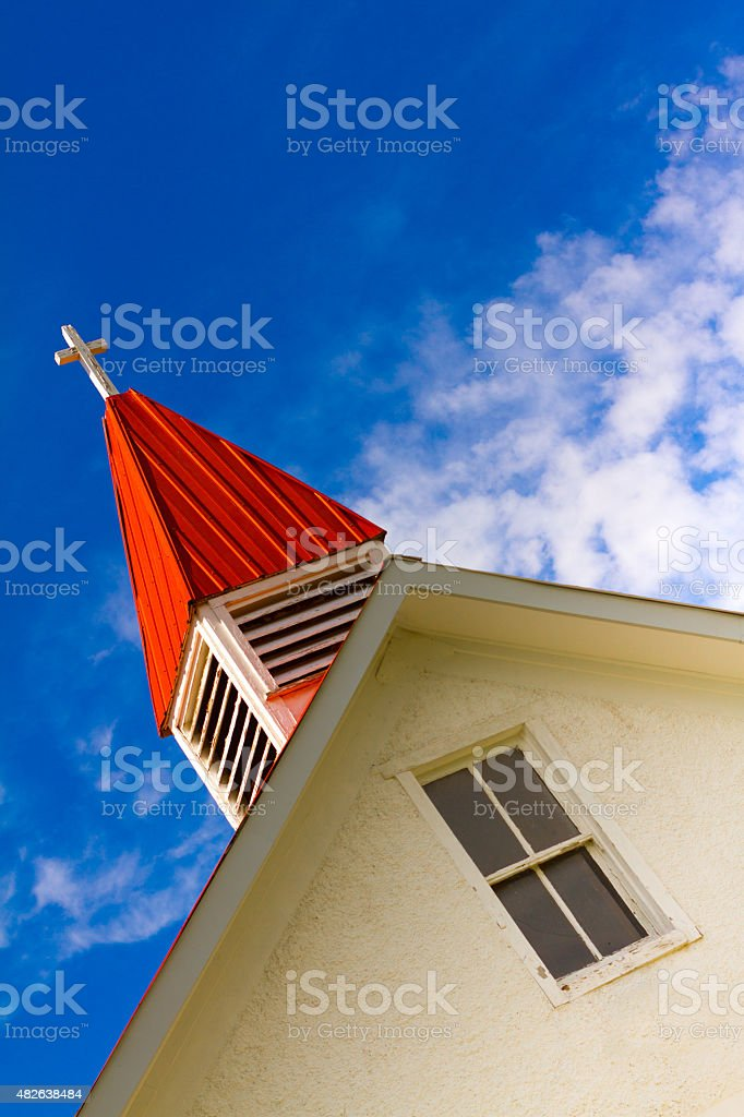 Red Steeple, White Church, Blue Sky, New Mexico stock photo